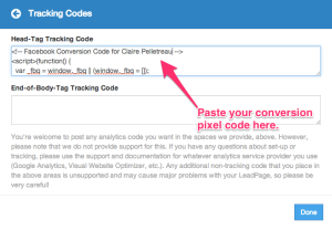 Leadpages Conversion Tracking Step 2