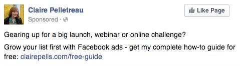Claire Pelletreau Facebook Ad Copy Example