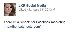 LKR Social Media Facebook Ad Copy Example