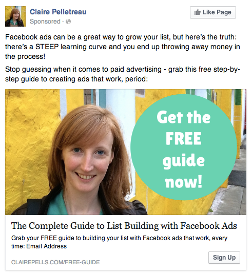 Example Facebook Link Ad - Claire pelletreau