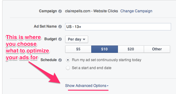 Advanced Options - Facebook Ads