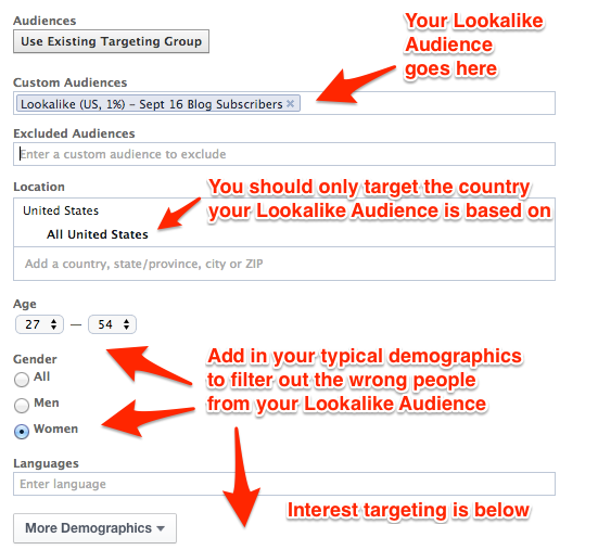 Adding a Lookalike Audience to Your Facebook Ads targeting
