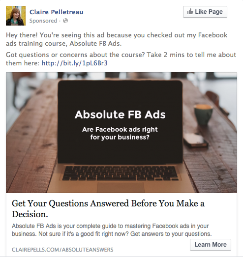 WCA Facebook ad targeting sales page views