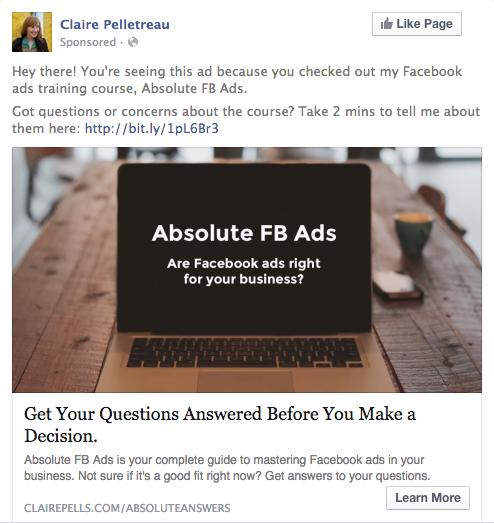 WCA Facebook ad targeting sales page views