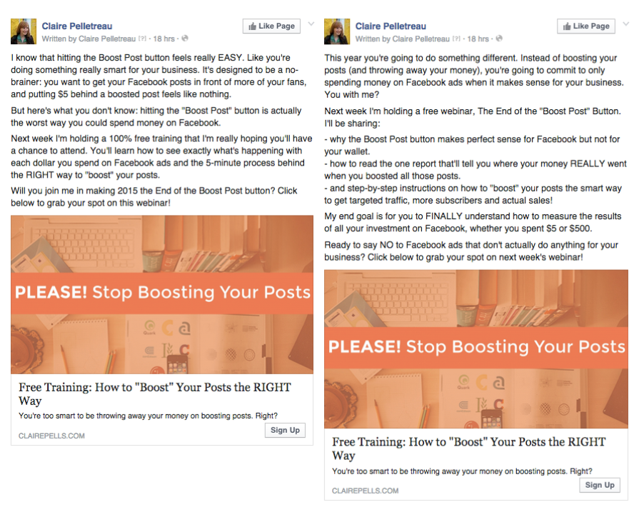 Facebook Ads = Examples of Longer Copy