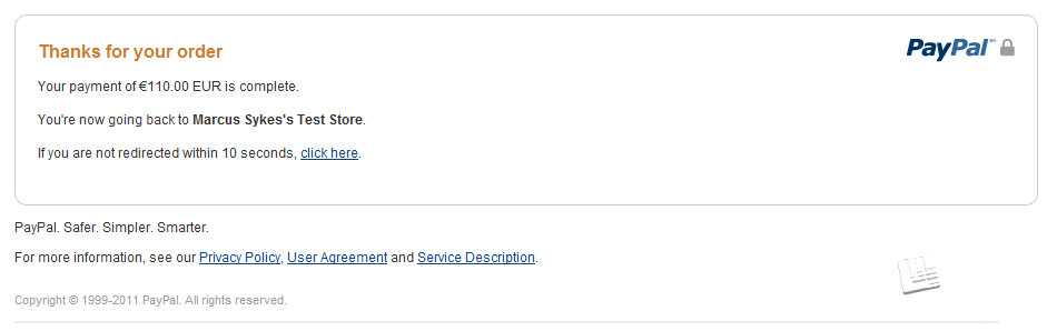 PayPal Redirect After Purchase Page