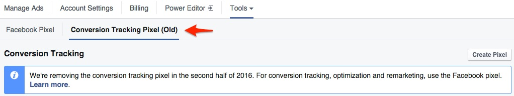 Facebook Pixel for Conversion Tracking