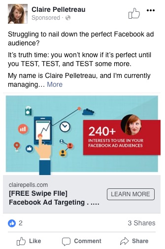 Facebook retargeting ad